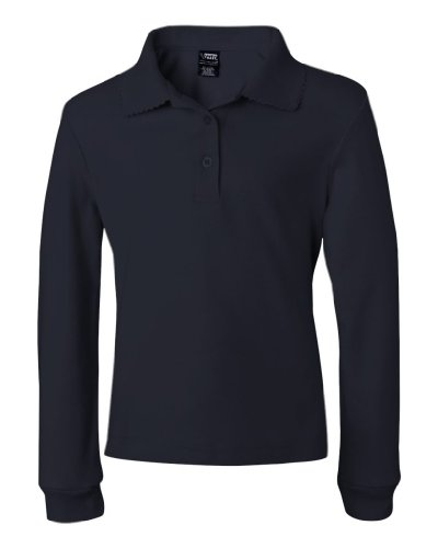 French Toast Girls' Long Sleeve Polo with Picot Trim Collar (Navy, 14/16)