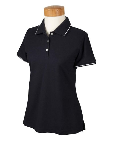 Devon & Jones D113W Ladies Pima Pique Short-Sleeve Tipped Polo - Navy/White - L (Tipped Pima Pique Polo)