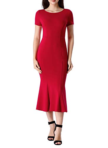VFSHOW Womens Elegant Vintage Cocktail Party Bodycon Mermaid Midi Mid-Calf Dress 2829 RED L