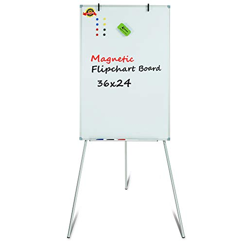 Lockways Easel Magnetic White Board - Magnetic Tripod Whiteboard/Flipchart Portable Dry Erase Board 36 x 24 Inch, Silver Aluminum Frame for School, Home, Office ()