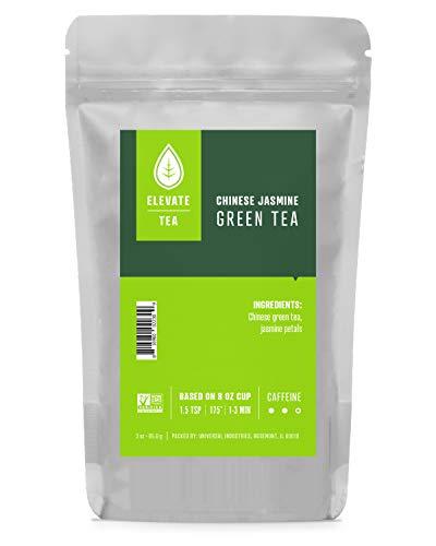 - Elevate Tea CHINESE JASMINE GREEN TEA, Loose Leaf Tea Blend, 30 servings, 3 Ounce Pouch, Caffeine Level: Medium, Single Unit
