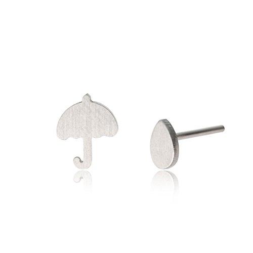Umbrella and Rain Friendship Stud Earring - Couples Jewelry -