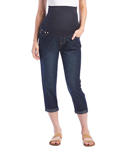 RUMOR HAS IT Maternity Over The Belly Cuffed Capri Crop Straight Jeans (Small, Dark)