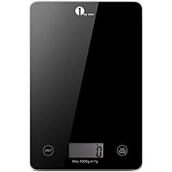 1byone Food Scale Digital Kitchen Scale Weigh in Gram LB and OZ Cooking Scale Baking Scale, Digital Coffee Scale from 0.17oz up to 11 lbs, Weigh Max 5000g (11lbs), Black