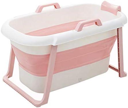 折りたたみ大人バスタブ、ポータブルバスタブ、インフレータブルバスタブ、プラスチック (Color : Pink)