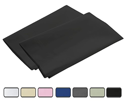 American Pillowcase 100% Brushed Microfiber 2-Piece Pillowcase Set with 2-Inch Hems - Standard, Black 21x32 (fits 20x26)