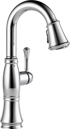 Delta 9997-DST Cassidy Single-Handle Pull-Down Bar-Prep Faucet with Magnetic Docking Spray Head, Chrome