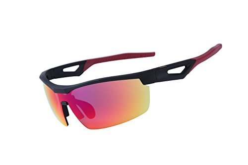 Blue Mirro Lens - ULLERES Designer Sports Sunglasses for Men Women Hiking Cycling Baseball Fishing Golf Motorcycle (Red Revo, Red Revo)