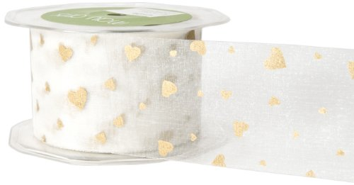 May Arts 2-Inch Wide Ribbon, Ivory and Gold Hearts -