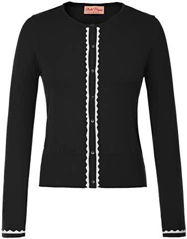 Women Button Knit Cardigan Contrast Color Long Sleeve Shrug BP779
