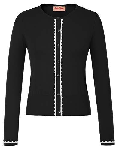 Women Black Crew Neck Cardigan Stretchy Knit Sweaters Large ()