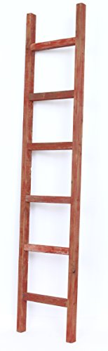 Cheap BarnwoodUSA Rustic Farmhouse Decorative Ladder – Our 6 ft Ladder can be Mounted Horizontally or Vertically and is Crafted From 100% Recycled and Reclaimed Wood | No Assembly Required | Red