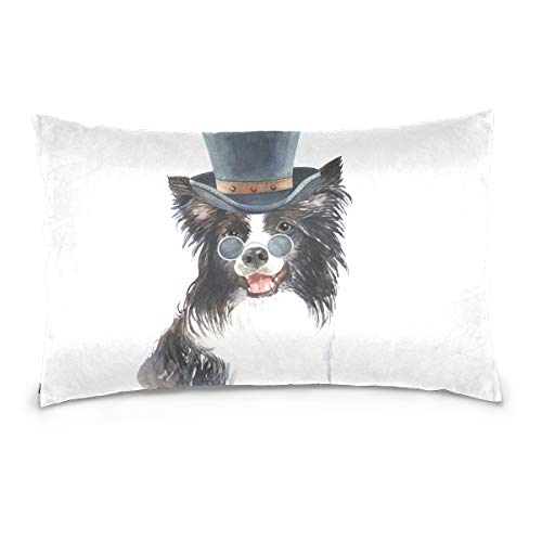 Border Collie Watercolor - DOMIKING Watercolor Border Collie Print 100% Cotton Velvet Pillowcase with Hidden Zipper for Skin and Hair Health (16