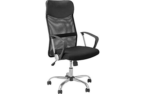 high back mesh office chair with leather effect headrest. mesh and leather effect headrest office chair - black. high back with r