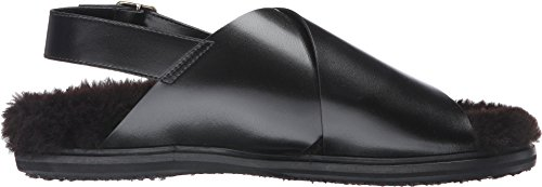 Marni Hombres Calf Leather / Shearling Sandal Black