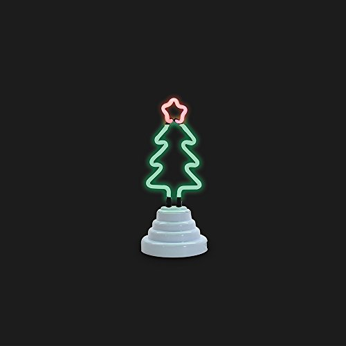 Funderdome Christmas Tree Neon Light, Indoor Decorative Cute Figurine Night Table Lamp Light for Kids' Room, Bedroom, Gift, Party, Home Decorations - Green
