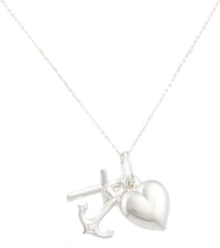 Italian Sterling Silver Large Dangle Cross, Heart, Anchor 16 Inch Link Necklace (I-1076) Heart Italian Cross