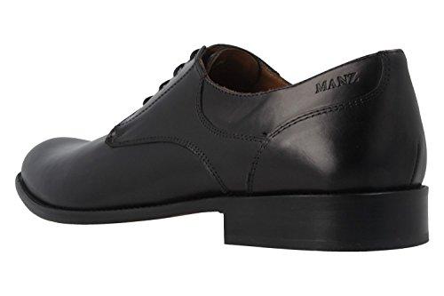 MANZ - Nizza - Herren Business Schuhe - Schwarz Schuhe in Übergrößen
