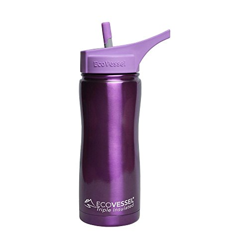 Boulder Club - EcoVessel SUMMIT TriMax Triple Insulated Stainless Steel Water Bottle with Flip Straw - 17 Ounces - Purple