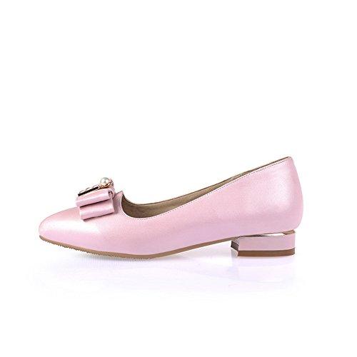 Balamasa Dames Lage Hakken Ronde Teen Instelbare Metalen Strik Rubberen Pumps-schoenen Roze
