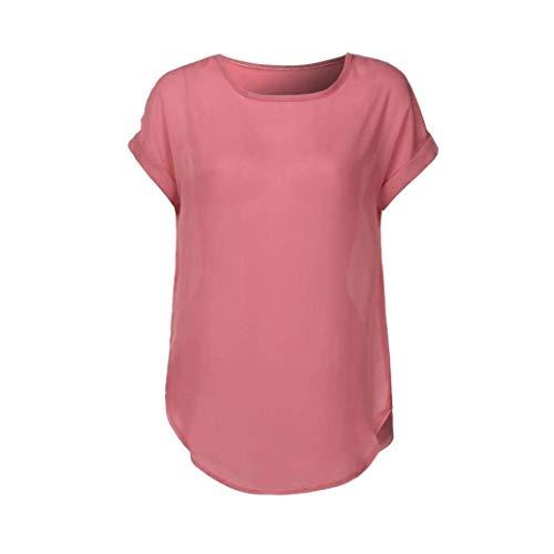 Tops Blouse Fit Mode Dcontract Pink Femme Courtes Haut Vintage Vtements Shirts Slim Mousseline lgant Mode Jeune Col Rond Et Unicolore Manches TZH0Tq