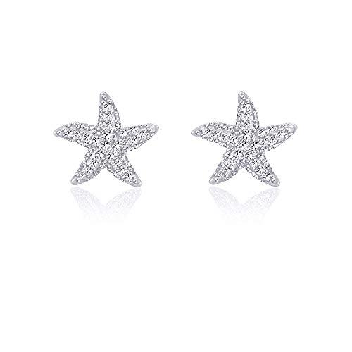 Starfish Earrings Silver Stud Earrings for Women Girls for Sensitive Ears Nickel Free Dainty Studs Nautical Fashion Beach Wedding Jewelry]()