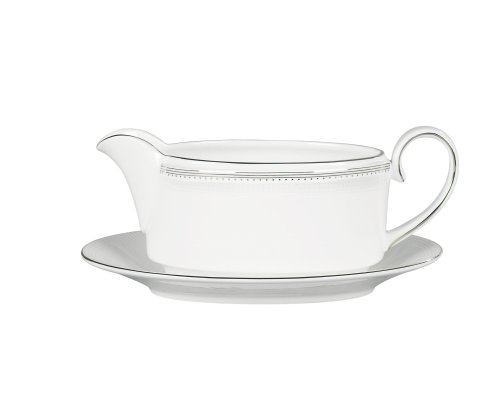 Vera Wang by Wedgwood Grosgrain Gravy Stand Gold Trim Gravy Boat