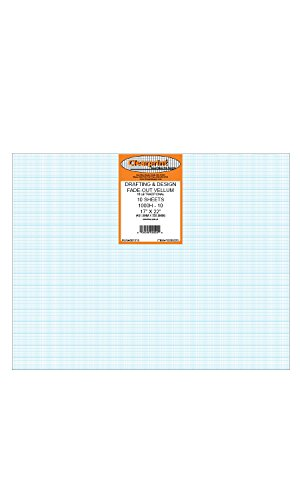 Clearprint 1000H Design Vellum Sheets with Printed Fade-Out 10x10 Grid, 16 Lb, 100% Cotton, 17 x 22 Inches, 10 Sheets Per Pack, 1 Each (10203220) by Clearprint