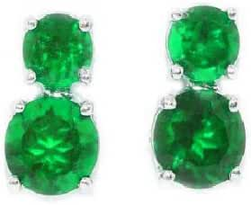 3 Ct Simulated Emerald Round Double Stud Earrings .925 Sterling Silver Rhodium Finish