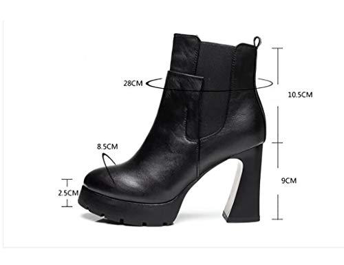 Y Invierno Con Para Botas Alto Martin Marea Descubiertas De Tacón Botines Negro Cuero Redonda Cabeza Mujer TfXFnx
