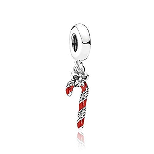 SUNWIDE Fit Pandora Charms Bracelets Berry Red Sparkling Candy Cane Dangle Charm -