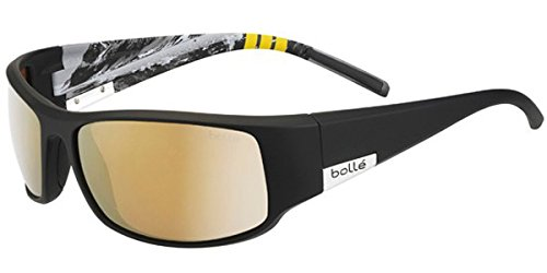 Bolle King Moutain Sunglasses, Medium/Large, Polarized AG14 Oleo AF, Matte Black by Bolle