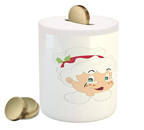 Ambesonne Mr Mrs Piggy Bank, Mr and Mrs Santa Clause North Pole Inhabitants Christmas Themed Cartoon Characters, Printed Ceramic Coin Bank Money Box for Cash Saving, Red Cream ()