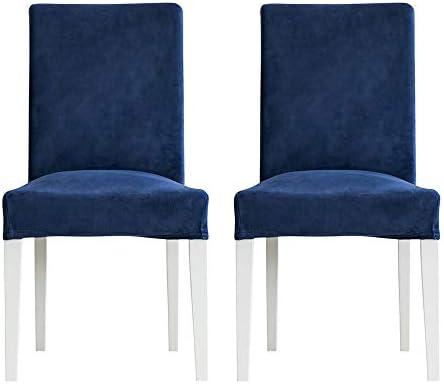 MIULEE Pack de 2 Fundas para Sillas Terciopelo Comedor Fundas Elásticas Modernas bielástico Extraíbles y Lavables Funda Cubiertas para sillas Azul ...