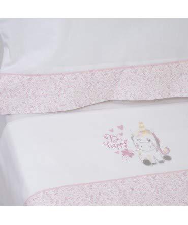 10XDIEZ Parure de lit en Flanelle Motif Licorne Blanc//Rose 124 cm Minicuna 50x80cm