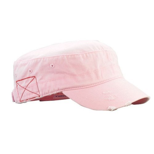 MG Mega Cap Cotton Distressed Washed Cadet Cap (Pink)