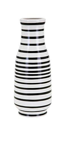 IMAX 14464 Parisa Vase Small - 6 in. (W) x 14.25 in. (L) Ceramic, Home Decor Vase with Black, White Stripes