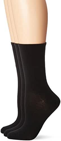 No Nonsense Women's Cotton Flat Knit Crew Sock 3-Pack