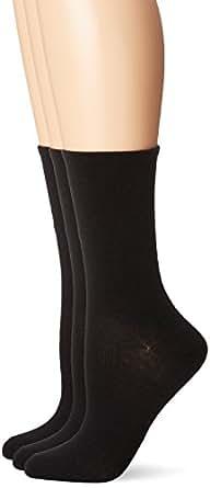 No Nonsense Women's Cotton Flat Knit Crew Sock 3-Pack, Black, 4-10