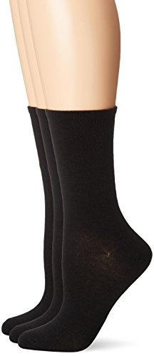 No Nonsense Women's Flat Knit Crew Sock, 3 Pair Pack, Solid Black, 4-10