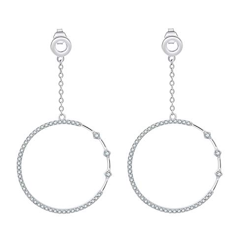 SA SILVERAGE 925 Sterling Silver High Polished Circle Hoop Earrings AAA Zirconia Long Earrings for Women