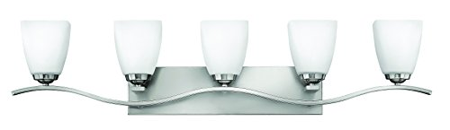 Hinkley Bathroom Lights (Hinkley 5375BN Transitional Five Light Bath from Josie collection in Pwt, Nckl, B/S, Slvr.finish,)