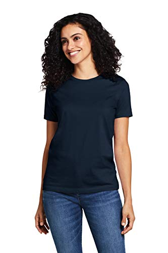 Lands' End Women's Supima Cotton Short Sleeve T-shirt - Relaxed Crewneck - Tee Crew Solid Neck
