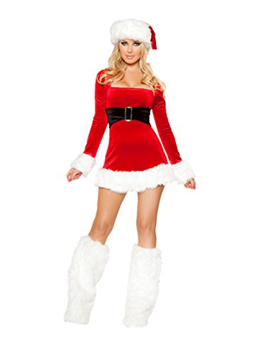 Leright Women's Christmas Costumes Holiday Santa Lingerie Outfits Jingle Dress, Red, US Size -