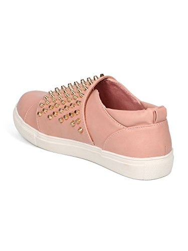Flap Pink Sneaker Leatherette Women GE02 Studded Liliana Dusty 8SqO1txnwp