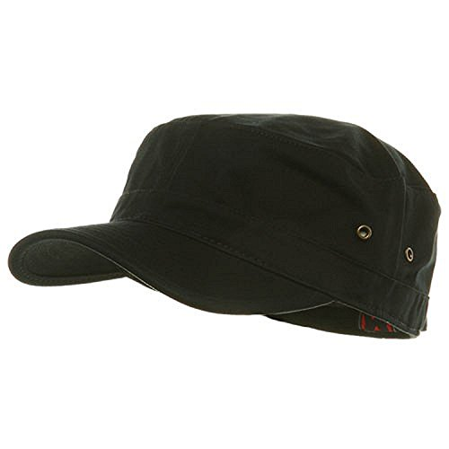 Military Style Solid Blank GI Flat Top Cadet Cotton Castro Patrol Fitted Cap Hat (Black)