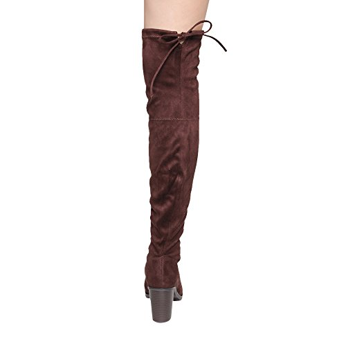 FOREVER GE26 Womens Drawstring Chunky Heel Thigh High Stretchy Boots Brown JjEFu13