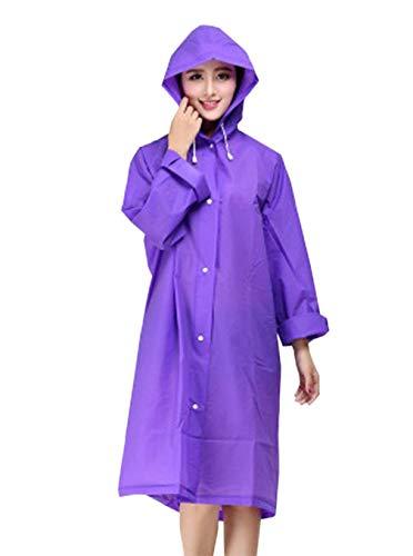La Impermeable Coat Dama Casual Moda Color Cordón Lluvia Trench Morado Sólido Exterior Mujer Para Capucha Con Chaqueta Z6q855