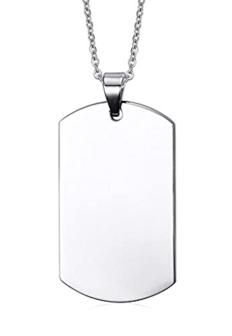 Free Engraving-Stainless Steel Plain Dog Tag Pendant Necklace for Men, 4828mm/ Text Engraving