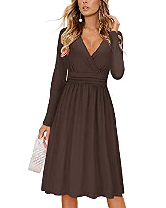 OUGES Womens Long Sleeve V-Neck Wrap Waist Party Dress with Pockets - Brown - Small
